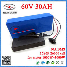 3000W 60V Electric Bicycle Battery 60V 30AH Lithium Battery Pack 16S6P 26650 Cell 50A BMS For Scooter Citycoco Motor