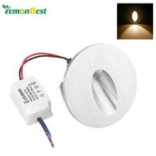 Warm White Led Wall Lamp 3W Round LED Recessed Porch Pathway Step Stair Light Wall Lamp Basement Bulb  AC 85-265V