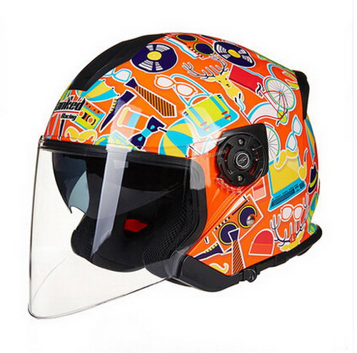 women orange half face motorcycle helmet Tanked Racking T597 scooter electric motorbike moto motocross helmets safety cap(China)