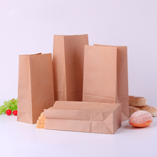 100pcs/lot 17X9X5cm 7sizes Brown/white Kraft Paper Gift Sandwich Bread Food take out Bags Party Wedding Favour free shipping