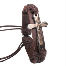 New Fashion Men Jewelry Vintage Leather Bracelets & Bangles Metal Cross Jesus Bracelet Adjustable Wax Cord Brown Black