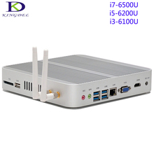 Fanless Mini Desktop PC,Tiny Computer Intel Skylake 6th Gen i7-6500U/i5-6200U/i3-6100,Dual Core,HDMI+VGA+SD Card Port,Wifi,Win10