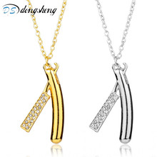 dongsheng Fashion Hair Dresser Necklace Rhinestones Razor Pendant Necklace Barber Shop Cosmetologist Tool Hairdresser Gift -30(China)