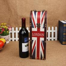 Fashion Union Flag Exclusive Wine Box Antique Retro gift ideas Gift Box Wine Box Wooden Antique Wine Box Retro Packaging Gift(China)