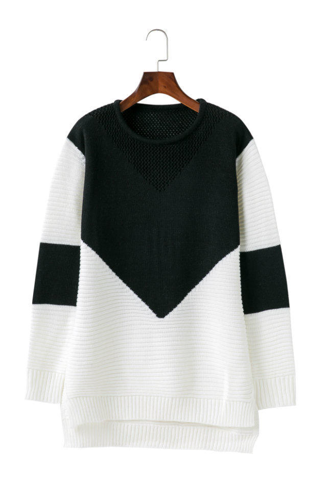 Autumn Patchwork Sweater, Women's Sweater, Pullover, Loose Jumper Hollow Out Split Sweater 10
