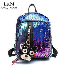 Buy Glitter Backpack Women Sequin Backpacks Teenage Girls Bling Rucksack Fashion Cute Pendant School Bag Sequins mochila XA1169H for $19.68 in AliExpress store