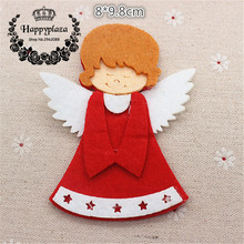 5pcs Lovely Non-woven Fabric Christmas Angel Applique Patches DIY Craft Decoration,8*9.8cm