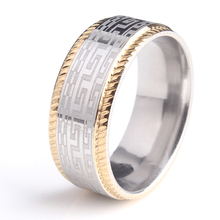 20pcs/lot 8mm gold color border gear Great 316L Stainless Steel finger rings for men women wholesale