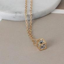 Fashionable Love Cube Three-dimensional Necklace Shiny Charm Rhinestones Small Box Short Clavicle Chain Maxi Necklace & Pendants