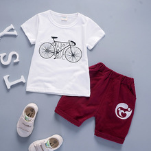 Infant Girls Clothes Children Clothing 2017 Sunmer Toddler Boys Clothing Sets Fashion Bicycle Pattern Cotton Kids Clothes