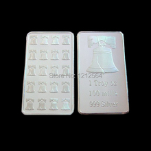 50pcs/lot 1 Troy Ounce LIberty Bell Pure 999 Silver Bullion Bar Souvenir Silver plated coins