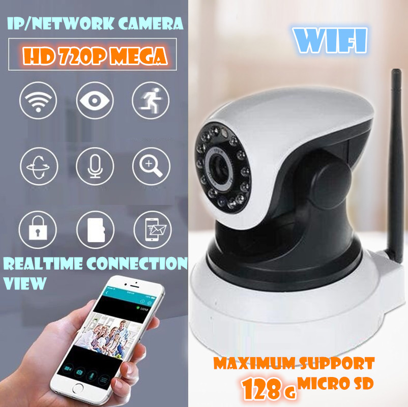 Wireless IP Camera Wifi  720P HD sd card pt Audio Mega P2P Alarm Onvif FREE APP Network IR-CUT Night Vision Recording PTZ<br>