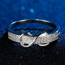 Women CZ paved infinity tiny band rings AAA class bridal zircon jewelry silver tone bling quality polished ring