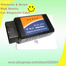 OBDII Diagnostic tool ELM327 Wireless OBD2 Wifi Scanner WI-FI ELM 327 Interface Support Iphone Android(China)