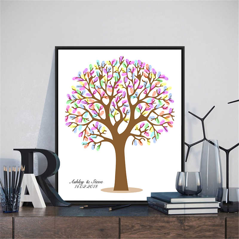 HAOCHU Wedding Guestbook Fingerprint Canvas Painting DIY Colorful Tree Print Signature First Communion Party Accessories