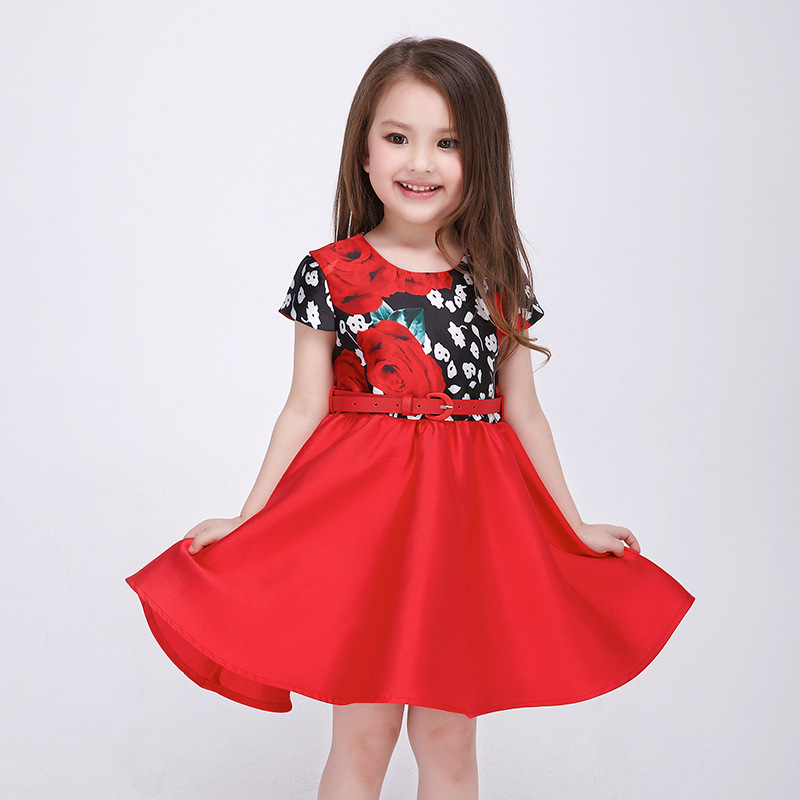 Girl Dresses For Teenager Childrens Flower Print Princess Dress Baby Girls Party Red Dress Infant Kids Clothes For Girl 8 Years<br><br>Aliexpress