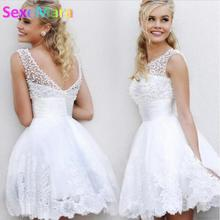 2017 New White Short Wedding Dresses the brides sexy lace wedding dress bridal gown vestido de noiva real sample