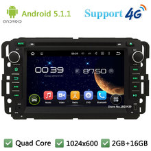 Quad Core 1024*600 Android 5.1.1 Car DVD Player Radio 3G/4G WIFI For GMC Yukon Savana Sierra Tahoe Acadia Denali Chevrolet Chevy