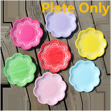 Colorful Doily Lace Party Paper Plates for Valentine Birthday Wedding Party disposable Tableware Party Supplies CP066