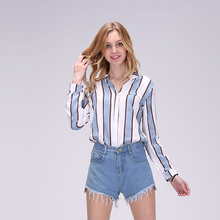 Buy Dioufond 2017 New Women Chiffon Blouse Blue Striped Shirt Casual Long Sleeve Blouses V-Neck Autumn Women Tops Blusa Feminina for $8.24 in AliExpress store