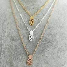 DIANSHANGKAITUOZHE Silver Rose Gold Charm Chain Pineapple Necklace Pendant Sherlock Stainless Steel Jewelry For Women Bridesmaid