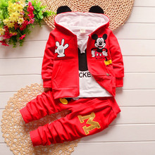 2017 New Chidren Kids Boys Clothing Set Autumn Winter 3 Piece Set Hooded Coat Suits Fall Cotton Baby Boys Clothes Mickey 1-5T(China)