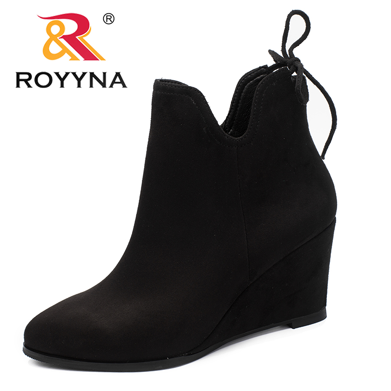 ROYYNA New Classics Style Women Boots Flock Women Winter Shoes Pointed Toe Women Ankle Boots Comfortable Light Free Shipping<br>