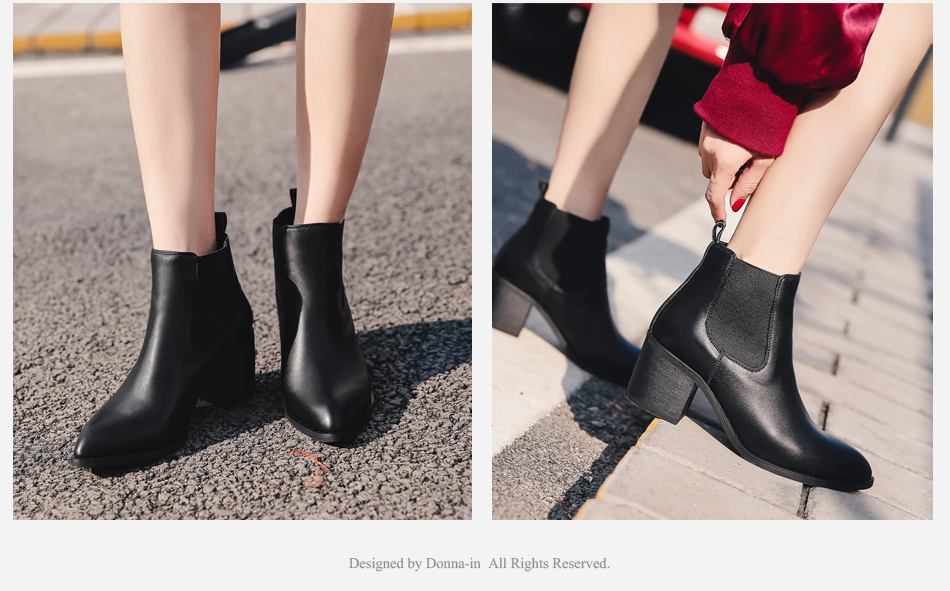 Donna-in 2017 new style genuine leather ankle boots pointed toe thick heel chelsea boots calf leather women boots ladies shoes 96350-17 (5)