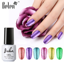 Belen 7ml UV Nail Gel Polish Nail Glitter Nail Art Varnish Color Supper Diamond Shining Glitter Sequins Starry Platinum