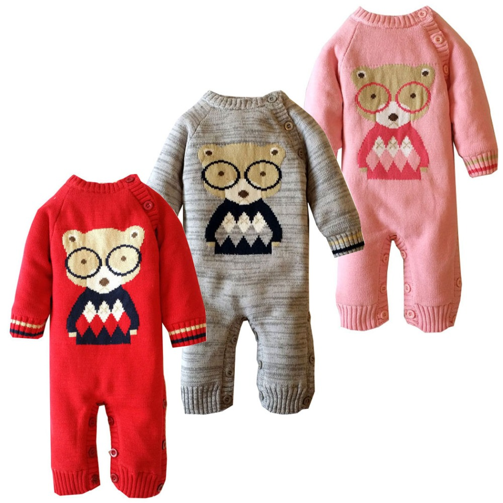 2017 Winter Baby Girls Rompers Cartoon Bear Knitted Sweater Baby Rompers Thicken Coral Fleece Newborn Boys Jumpsuits SnowSuit <br>