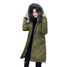 Big fur winter coat thickened parka women stitching slim long winter coat down cotton ladies down parka down jacket women(China)