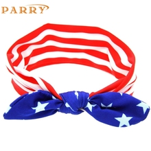 Hot Sales SIF 2017 New Fashion Lovely Children American Flag Pattern Rabbit Ears Elastic Cloth Headband APR 20 Levert Dropship