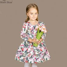 Binbi Bear 2016 Autumn Printed Kids Dress Long Sleeve CUHK Girls Jacket European and American style children princess  Spring an