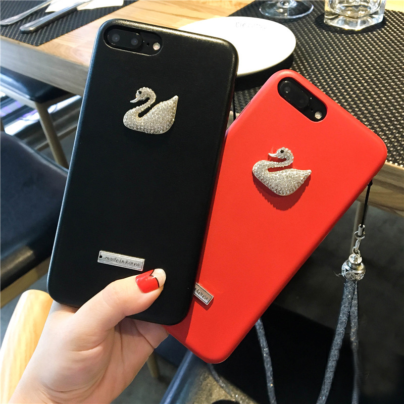 Remax Case iPhone 6 6S Capa 7 8 Cover Korean Bling Rhinestones Swan Girly Phone Cover iPhone 7 8 Plus Case 6S Plus Coque
