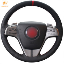 MEWANT Black Genuine Leather Red Marker Car Steering Wheel Cover for Mazda 6 Atenza 2009-2013