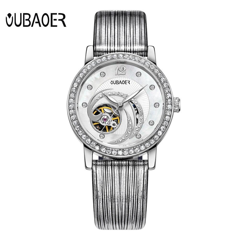 Relogios Femininos Luxury Brand Fashion Bracelet Watch Ladies Rhinestone Skeleton Automatic Watches Women Genuine Leather Watch<br>