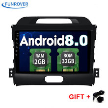 FUNROVER 2DIN Android 8.0 Quad core 9 inch Car DVD KIA Sportage Radio DVD navigation 2din DVD Sportager GPS Radio DAB+ wifi