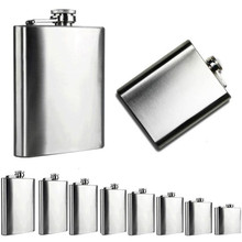 1PC High Quality Stainless Steel Pocket Hip Flask Alcohol Whiskey Liquor Screw Cap Different sizes(China)