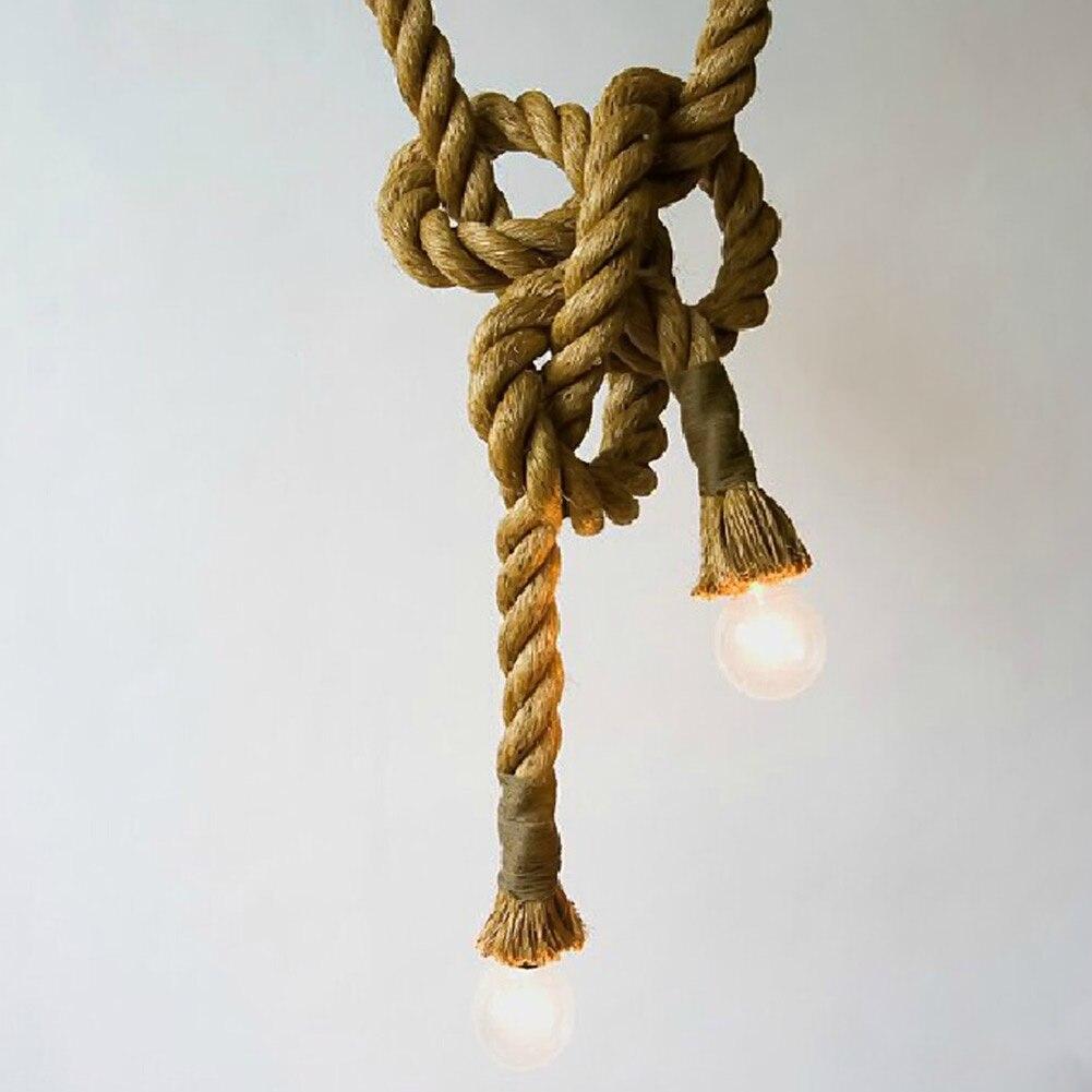 E27  Incandescent Light Bulb Pendant Light Single Head Wicker Country Vintage Hand Knitting Rope Pendant Light <br>