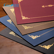 Honor certificate classical retro double line gilding envelope A4 certificate cover letter contract document folder 6 pcs/set(China)