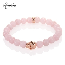 Thomas 8mm Pink Stone Bead and Rose Gold Skull Bead Elastic Bracelet, Glam Jewelry Soul Gift for Women Wholesale TS 292