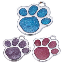 Stainless Steel Glitter Paw Pet ID Tags Custom Personalized Tag For Small Dogs and Cats Free Engraved and Hair Bows Gift(China)
