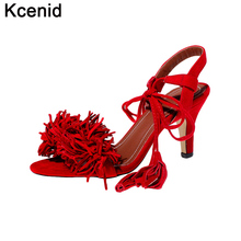 Kcenid 2017 big size 43 designer fringe shoes women red sandals mid heel fashion lace-up dress party lady casual summer shoes