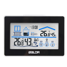Weather Station Temperature Humidity Meter Sensor Hygrometer Digital Thermometer Wireless Touch LCD Clock Indoor Outdoor(China)