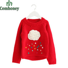 Girls Sweater Winter Cartoon Cloud Raindrops Children Sweater Christmas Pullover Long Sleeve Baby Girl Knitwear Kid Knit Clothes