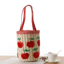 Lovely Girl's Straw Handbags With Fruit Embroidery Fashion Woven Summer Essential Package Shopping Tote Cute Shoulder Beach Bag