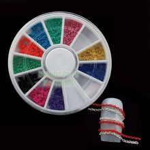 Wholesale 5 Wheels/lot Mixed 10 Colors 10cm Alloy Chains Nail Art Metallic Sticker Phone DIY Decorations Wheel Free Shipping