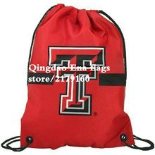 35*45 cm Knitted Polyester NCAA Texas Tech Red Raiders Scarlet Team Logo Drawstring Backpack With Grommets
