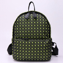 2016 New Fashion Luminous Diamond Lattice Backpack Travel Geometric Women Bag Girls School Bag Ladies Daypacks