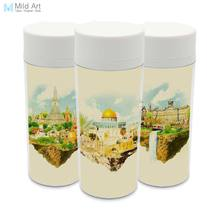 Wide Mouth Modern BPA Free Plastic Insulated Watercolor Vintage Retro City Paris New York Landscape Water Bottle 300ml Gifts(China)